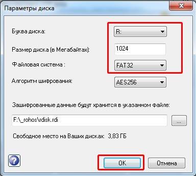 rohos-параметры-диска