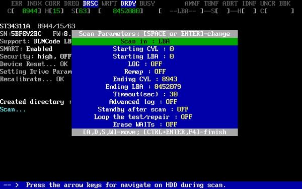 Запускаем MHDD - выбираем винчестер - вводим SCAN - F4 - F4
