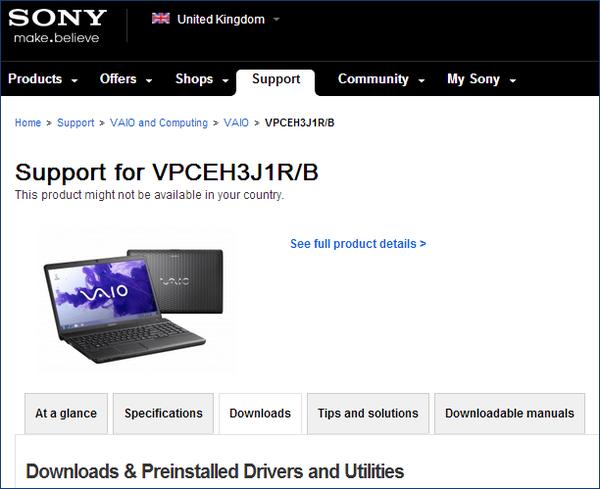 Драйверы VAIO на официальном сайте Sony