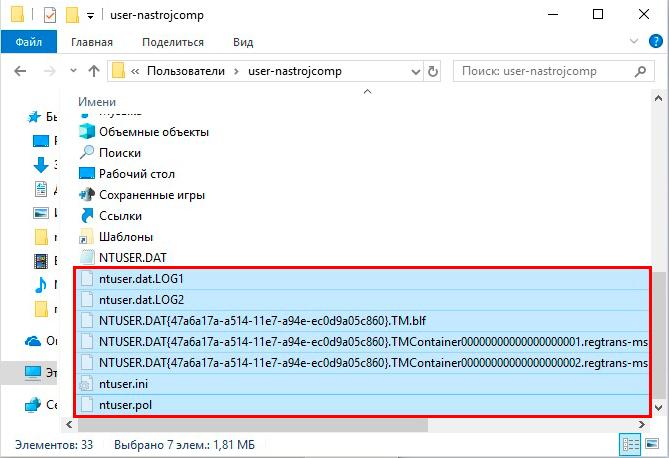 сопутствующие файлы ntuser.dat