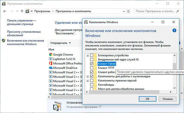 Компоненты Windows: Клиент Telnet