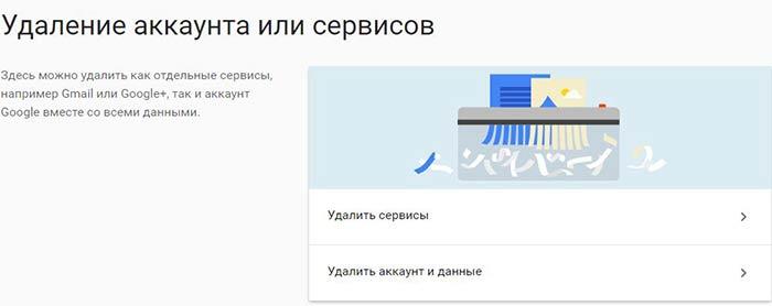 удалить аккаунт, электронный почтовый ящик gmail