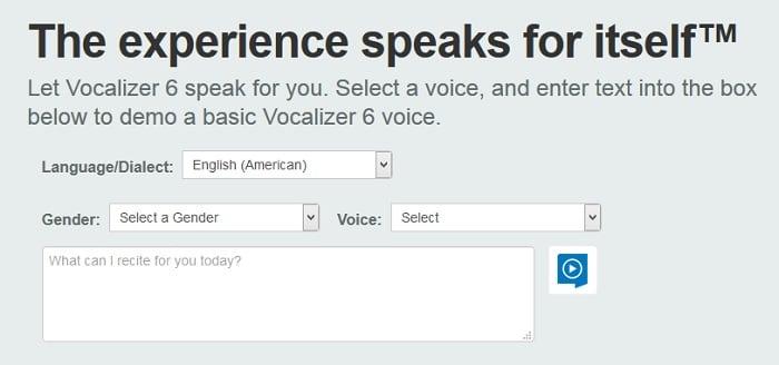 Интерфейс сервиса Vocalizer