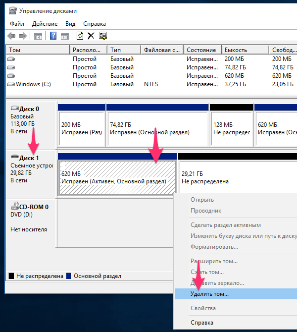 Форматирование флешки через Управление дисками Windows