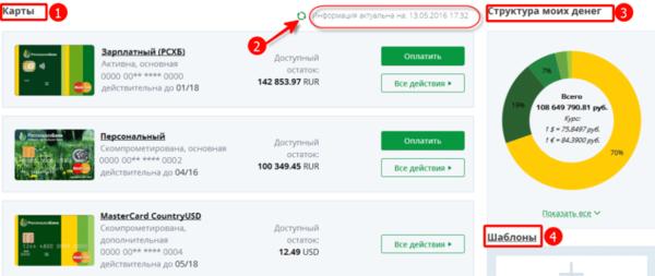 Управление картами и счетами через Россельхозбанк Онлайн