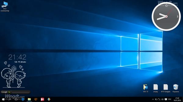 Рабочий стол Windows 10 с тремя активными виджета xWidget