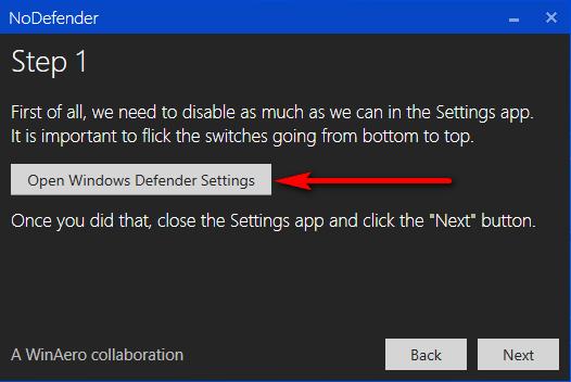 Открытие настроек Защитника Windows