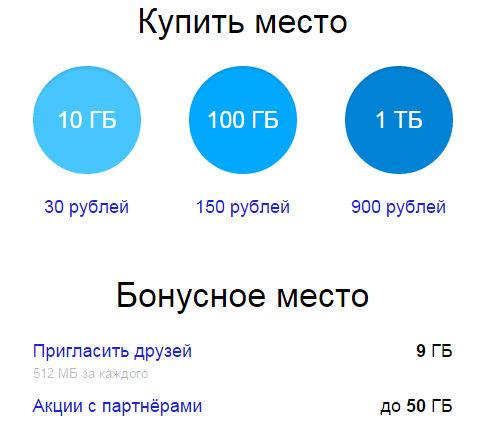 Дополнительное место в сервисе Яндекс Диск