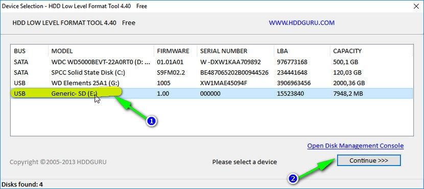 Выбор накопителя || Continue || HDD Low Level Format Tool