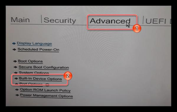 Переход к разделу Built-in Device Option на ноутбуке HP