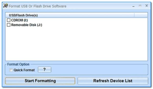 Скриншот главного окна утилиты Format USB Or Flash Drive Software