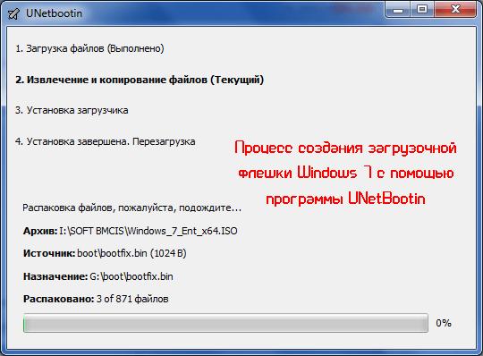 Процесс создания загрузочной флешки Windows 7 с помощью программы UNetBootin