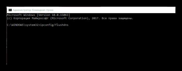 Ввод команд для очистки кэша DNS