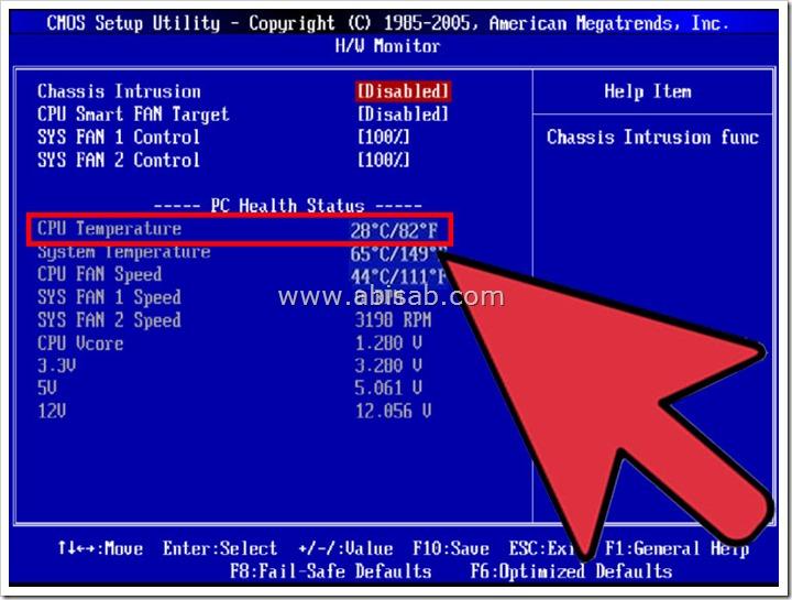 Как узнать температуру процессора через BIOS