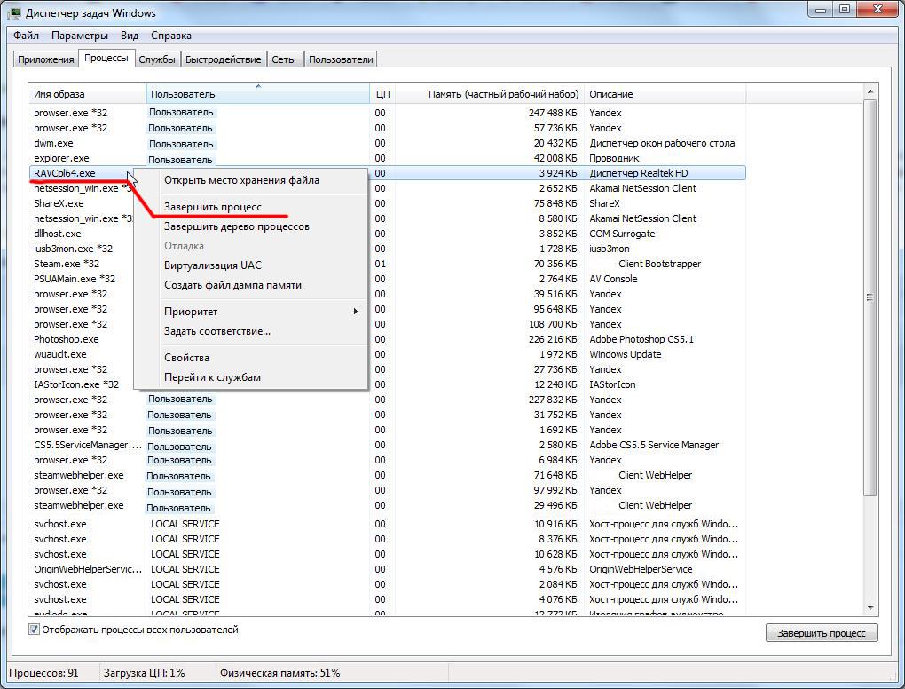 «Диспетчер задач» на ОС Windows
