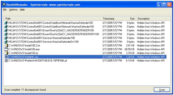 Программа «RootkitRevealer»