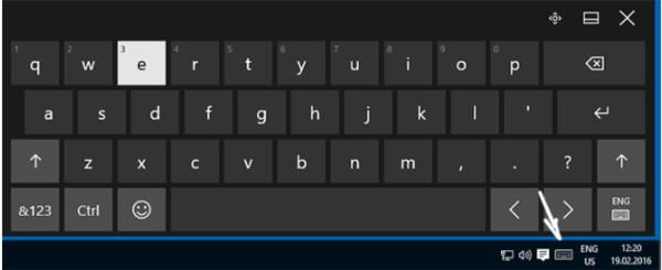 Экранная клавиатура и кнопка на панели быстрого доступа, вызывающая её