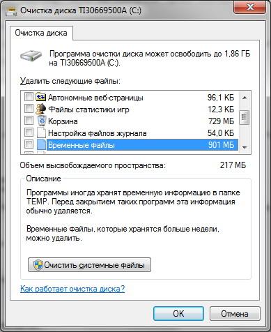 Окно настройки очистки диска в Windows 7