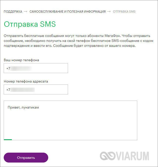 Отправка SMS с сайта Мегафон фото 1