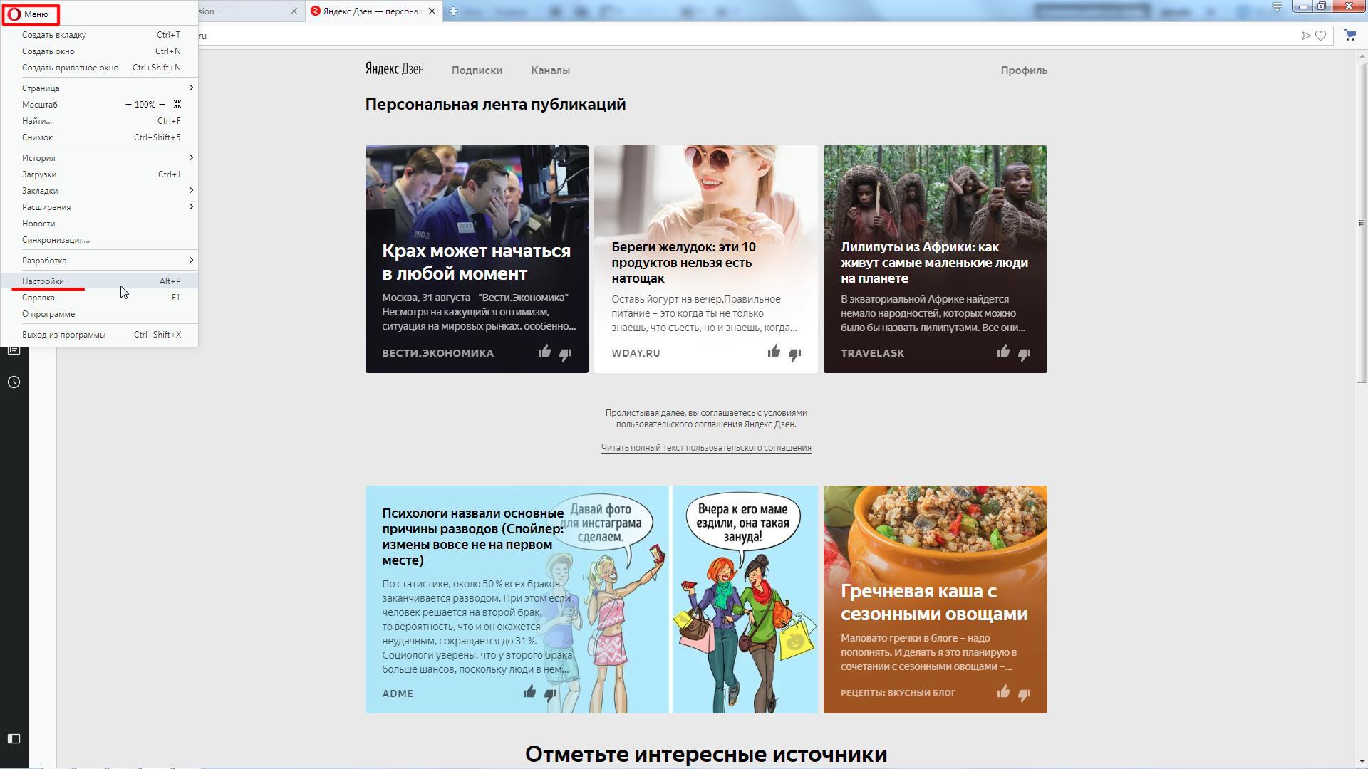 Панель настроек в браузере Opera