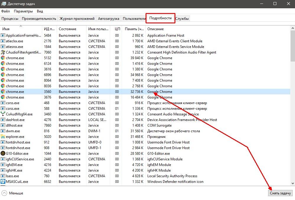 Процессы Chrome в «Диспетчере задач»