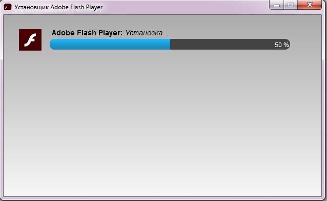 Окно «Мастера установки» Adobe Flash Player