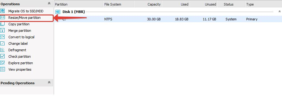 Resize Move Partition