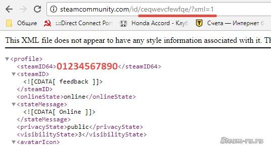 Информация об идентификаторе Steam в XML