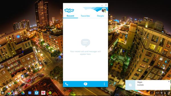 Версия Skype для Android запущенная на Chromebook