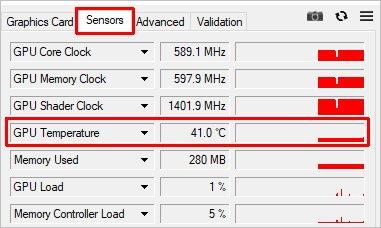 Температура видеокарты в программе GPU-Z