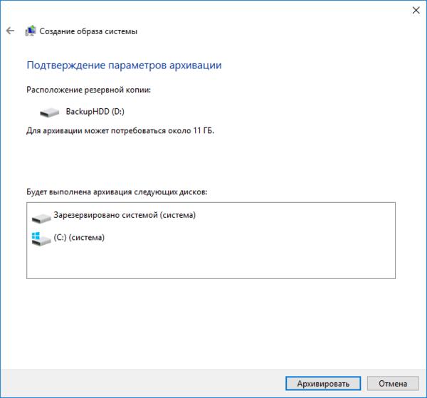 Пункт «Подтверждение параметров архивации» в окне «Создание образа системы»