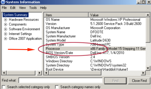 winmsd.exe windows xp