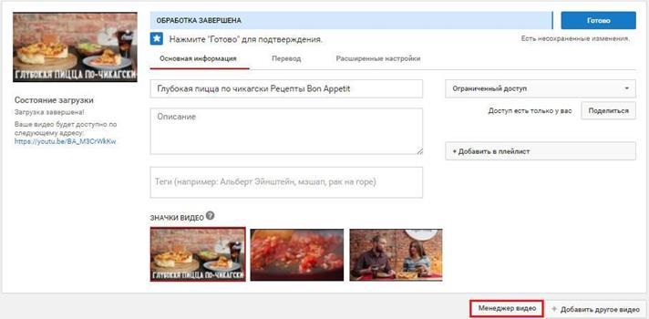 Менеджер видео»