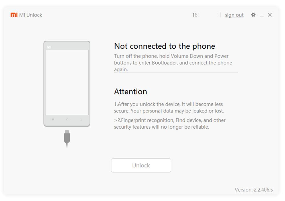 Mi Flash Unlock -подключение телефона