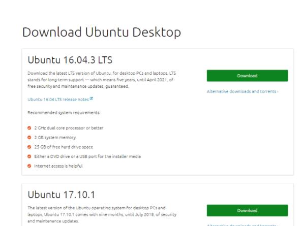 Открываем страницу загрузки Ubuntu Desktop и выбираем версию Ubuntu