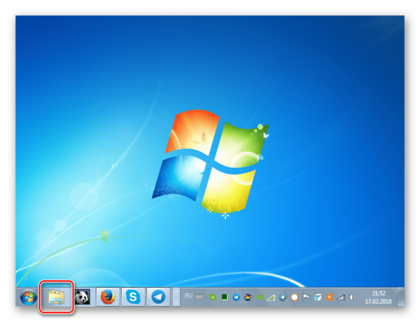 Запуск Проводника Виндовс из Панели задач в Windows 7