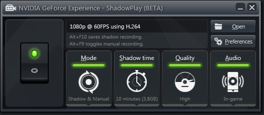 Настройки NVIDIA GeForce Experience Shadowplay