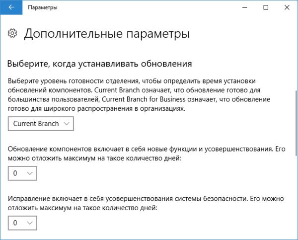 Дополнительные параметры обновления Windows 10