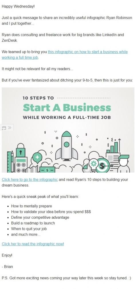 Пример письма с инфографикой от Brian Robinson