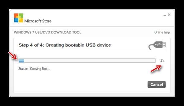 Процедура записи загрузочной флешки в окне утилиты Windows 7 USB DVD Download Tool