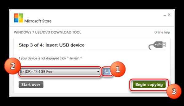 Выбор флешки и запуск копирования в окне утилиты Windows 7 USB DVD Download Tool