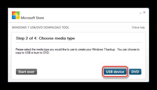 Выбор носителя для записи образа ОС в окне утилиты Windows 7 USB DVD Download Tool