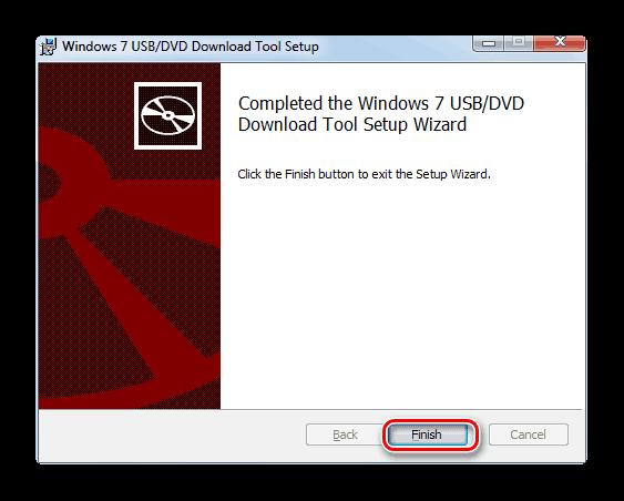 Завершение работы в Мастере установки утилиты Windows 7 USB DVD Download Tool
