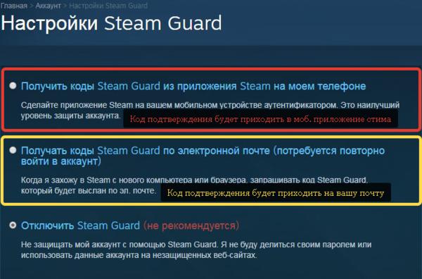 настройка steam guard