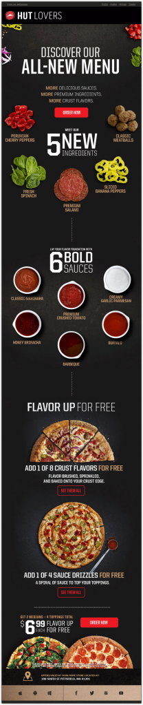 Пример инфографики в письме от Pizza Hut