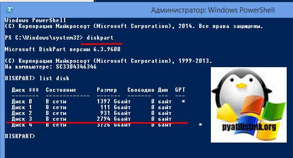 diskpart список дисков