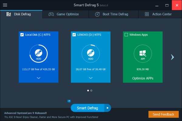 IObit Smart Defrag - дефрагментатор ИОбит Смарт Дефраг