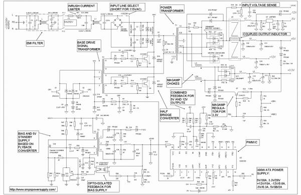 Полная схема простого блока питания стандарта ATX