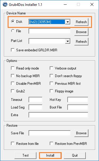 Запуск утилиты GRUB4DOS_GUI