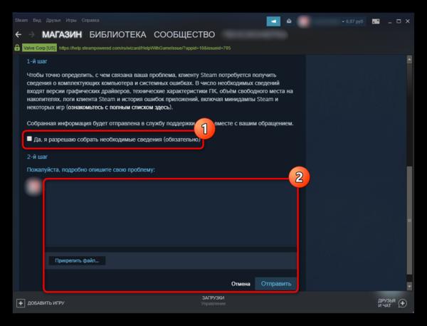 Окно для заполнения заявки с обращением в Steam